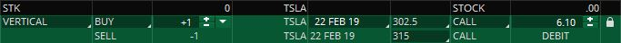 tsla bull call spread trade ticket