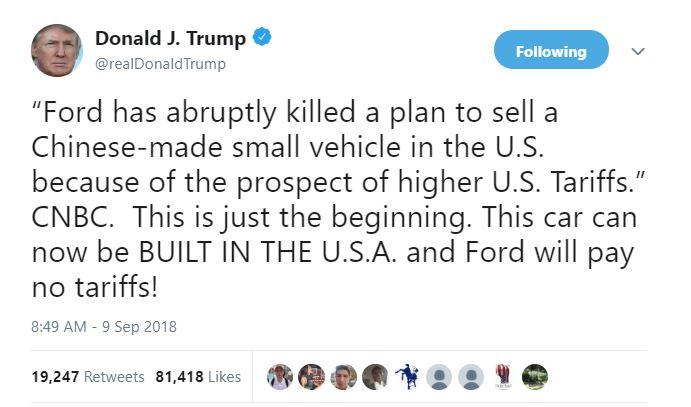 trump twitter ford