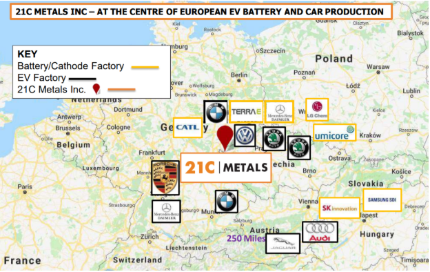 Map of 21C Metals location