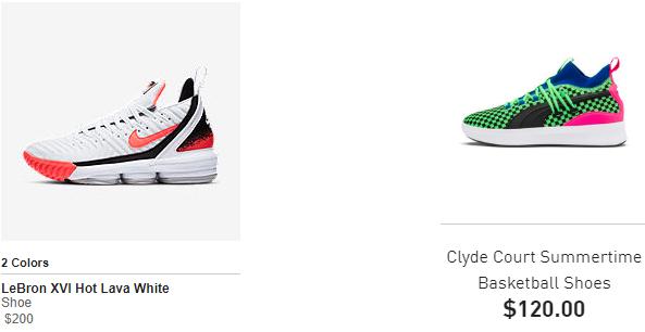 Nike lebron and puma Clyde