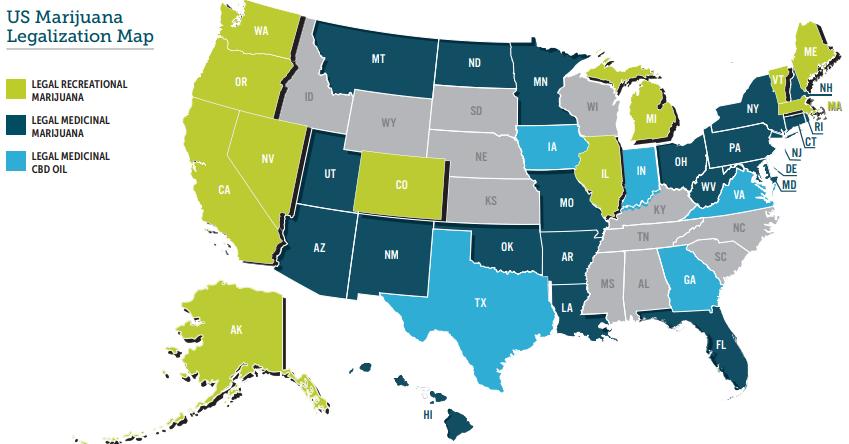 US map of legal marijuana states