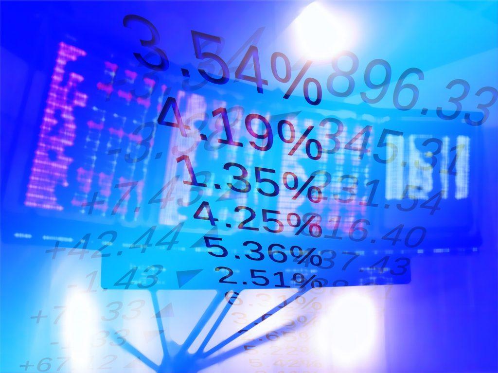 stock exchange with percentage increases overlay