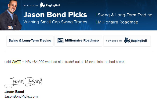 Jason Bond WATT sell email