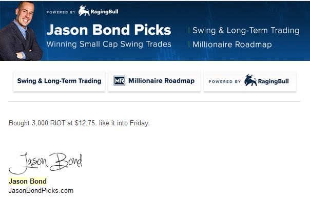Jason Bond Riot Blockchain Trade
